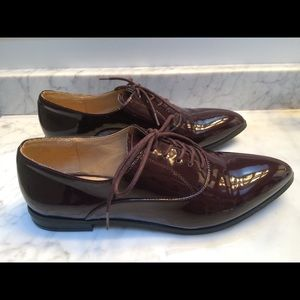 Faux Patent Leather Lace Up Oxford Shoes